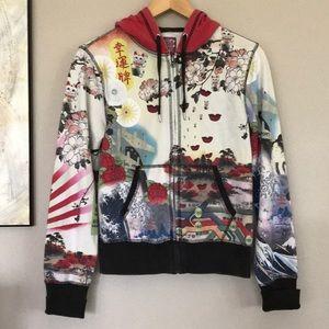Lucky Brand Rare Print Zip Up Hoodie